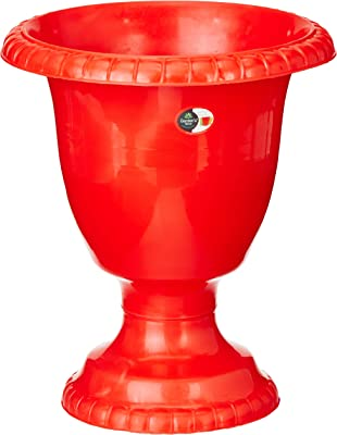 Gardens Need 100% Virgin Plastic Big Hitech Planter| Set of 2 Planter, (18cm x 27cm x 31cm, Red)