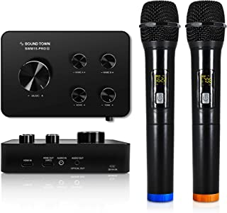 Sound Town Wireless Microphone Karaoke Mixer System, Supports HDMI ARC, Optical (Toslink), Smart TV, Media Box, PC, Blueto...