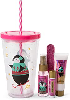 Simple Pleasures Hydration Bath Gift Set – Insulated Spill-Proof Reusable Penguin Water Cup With Screw-Top Lid, Straw, Peppermint Swirl Scented Body Lotion, Body Mist, Lip Balm, And Nail File