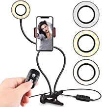 Selfie Ring Light with Cell Phone Holder Stand for Live Stream & Makeup Including Selfie Remote Shutter, UBeesize LED Camera Light with Flexible Long Arms, Compatible with Android Phone iPhone