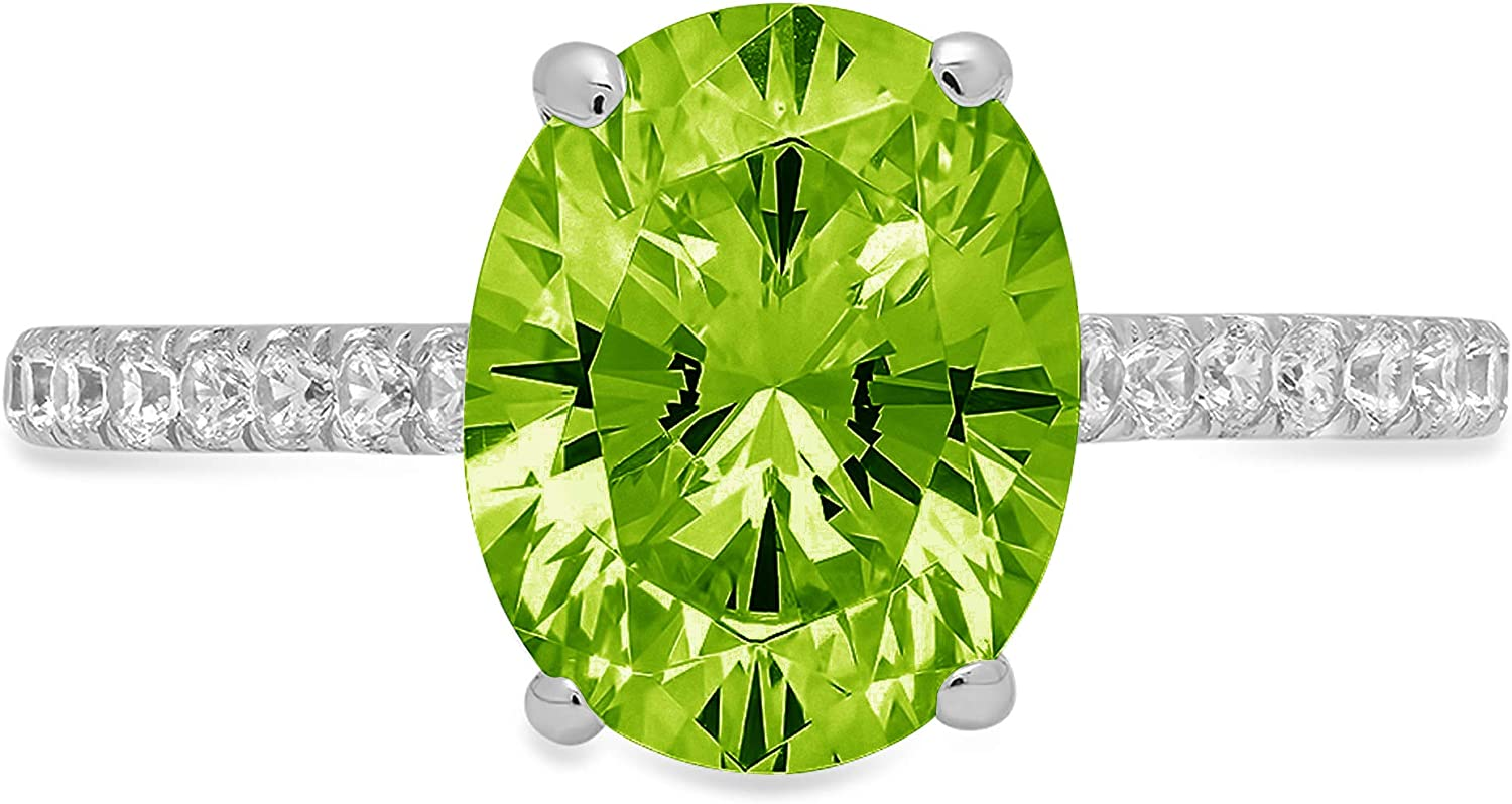 2.71ct Brilliant Oval Cut Solitaire with accent Designer Genuine Natural Green Peridot Gemstone Ideal VVS1 Engagement Promise Anniversary Bridal Wedding Ring 14k White Gold