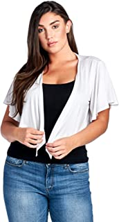 Women's Plus Size Cascading Short Sleeve Bolero Cardigan (1X-4X)