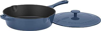 "Cuisinart Cast Iron Pan, 12"" Chicken Fryer, Enameled Provencial Blue"