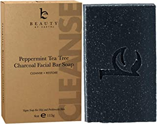 Charcoal Face Wash Bar Soap - Organic Peppermint Tea Tree Antibacterial Soap Bar Facial Cleanser for Oily Skin, Acne Cleanser, Natural Soap, Black Soap Face Cleanser, Acne Face Wash, Women & Mens Face