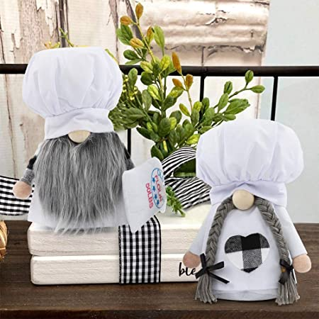 Amazon Com Kitchen Chef Gnomes 2 Pcs Mini Black And White Home Farmhouse Decorations Scandinavian Plaid Cooking Tomte Gnome Doll Shelf For Wedding Easter Mother S Day Dining