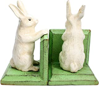 HomArt Cast Iron Bunny Bookends, White, Set of 2 (1659-6)