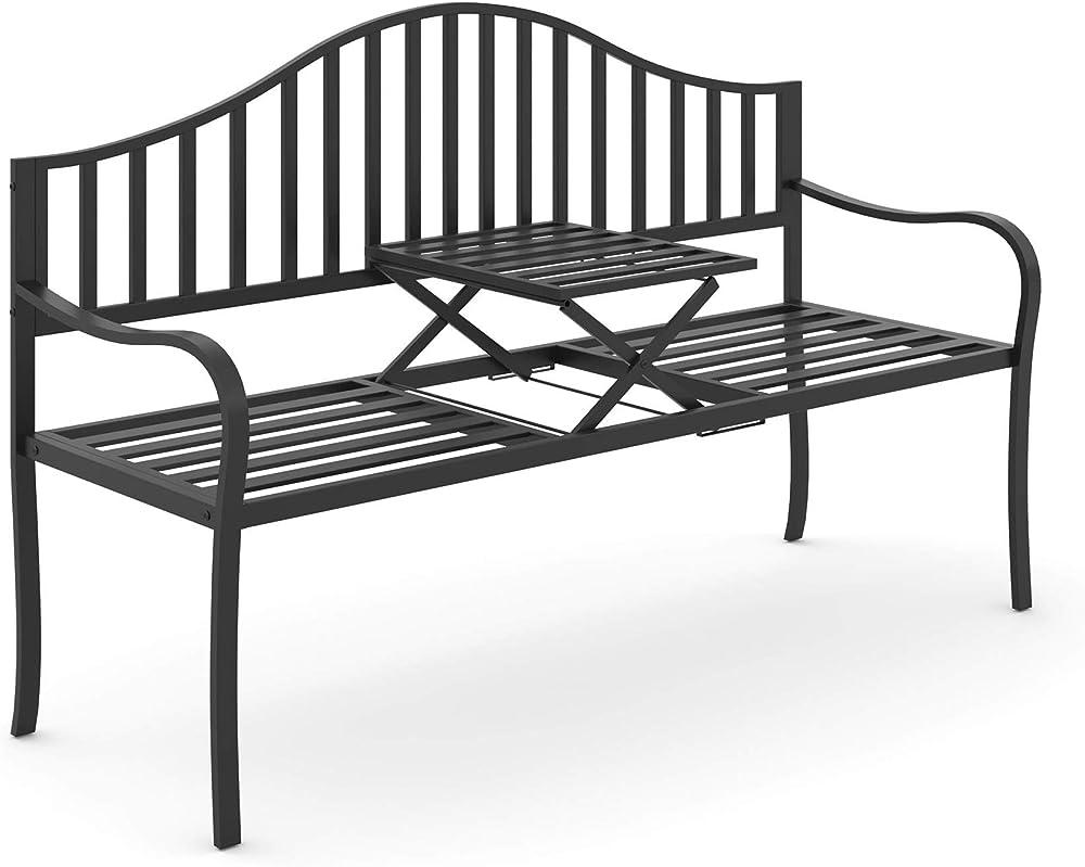 Outsunny panchina da giardino per 2 persone con tavolino estensibile in metallo IT84B-2410631