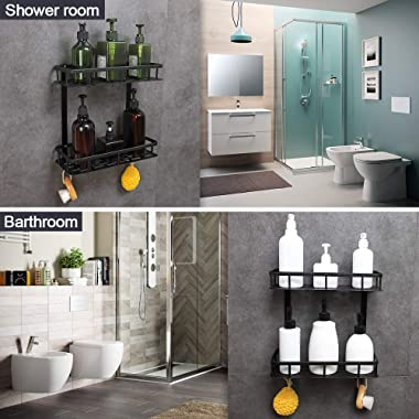 GERUIKE Bathroom Shelf 2-Tier, Square Shower Caddy Basket Wall Mounted Space Aluminum Shower Storage Organizer Rack Adhesive