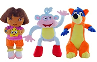 CartUp | The Fluffy Love Adventure of Dora, Boots and Swiper Stuffed Plush Toys--3 PCS/Set---9.8 INCHES