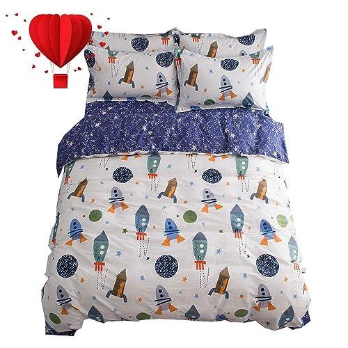 5e93adaa4acf3c BuLuTu Space Rocket Print Boys Bedding Duvet Cover Queen White Blue Cotton,3  Pieces (