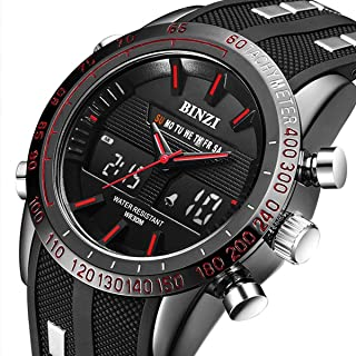BINZI Sports Watch for Men, Waterproof Military Wrist Analog Digital Watches with Silicone Band