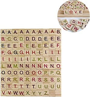 500 Pcs Wood Scrabble Tiles,Scrabble Letters for Crafts - DIY Wood Gift Decoration - Making Alphabet Coasters and Scrabble Crossword Game