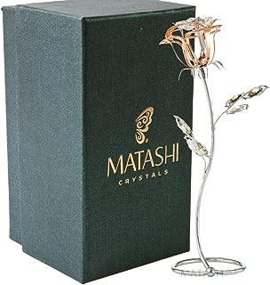 Matashi Rose Gold Chrome Plated Silver Rose Flower Tabletop Ornament with Clear and Golden Teak Crystals Metal Floral Arrangement Decorative Office Home Decor Elegant Petal Craftsmanship