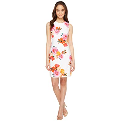 Calvin Klein Floral Shift Dress (White Multi) Women