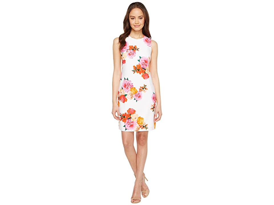 Calvin Klein Floral Shift Dress (White Multi) Women