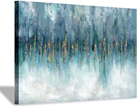 Hardy Gallery Blue Abstract Picture Wall Art: Aqua Modern Artwork Texture Painting on Canvas for Bedroom (36'' x 24'' x 1 ...