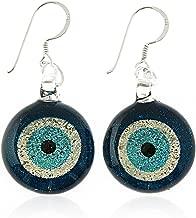 925 Sterling Silver Hand Painted Murano Glass Glitter Blue Evil Eye Round Dangle Hook Earrings