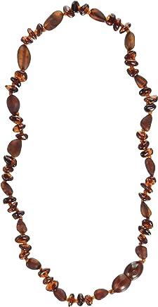 "Momma Goose Baroque Teething Necklace, Unpolished Cognac, Medium/12-12.5"""