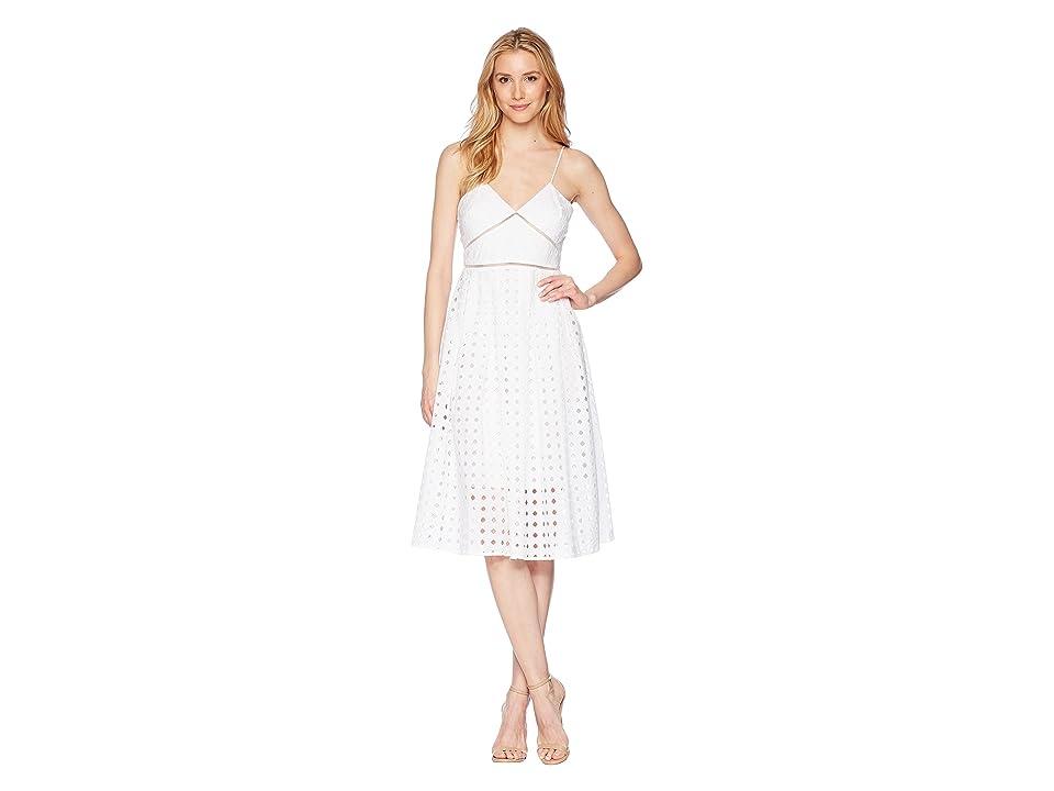 Donna Morgan Spaghetti Strap Eyelet Midi Dress (White) Women