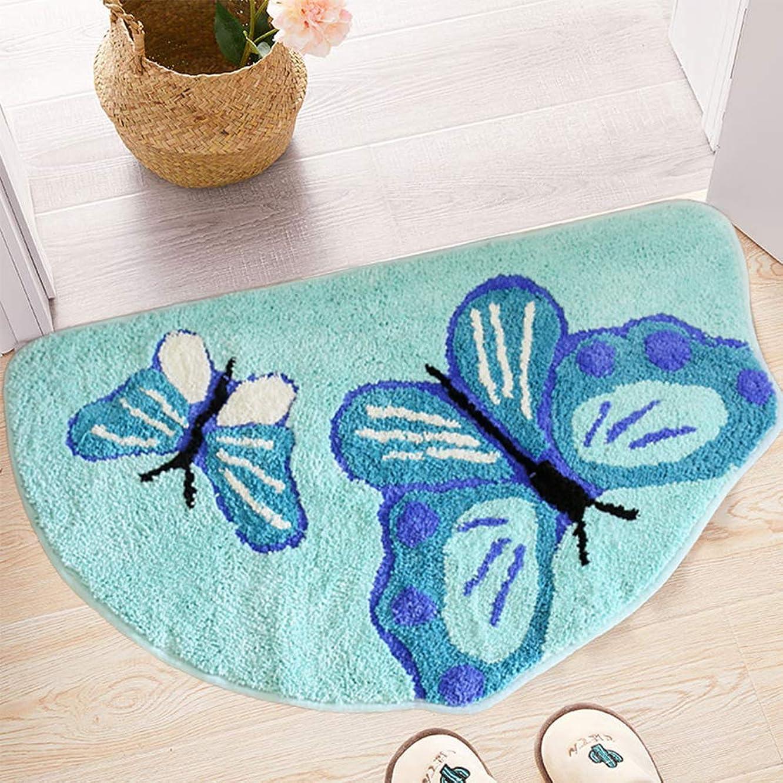 Cartoon Bathroom Rug | Bathroom Décor Mat Welcome Rugs | Non-Slip Kids Entryway Mat, Soft Shaggy Blue Butterfly Pattern Water Absorbent Rug