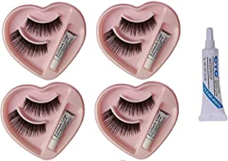 Angelie Waterproof Natural and Easy to Wear 4 Heart Shape Eyelashes Extension with 1 Glue Combo Set