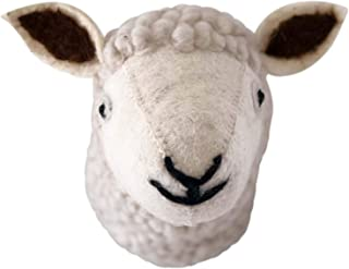 Felt Animal Wall Mount – Stuffed Faux Sheep Head - Home and Nursery Handmade Wall Décor for Kids or Sheep Lovers – Sheep Décor - Farmyard and Barnyard Theme Decorations