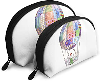 HJDKFIW Hot Sale Personalized Girl With Toys In Air Balloon From Patchwork Blanket Women's Shell Shape Purse Travel Storage Bag Organizer Bag Gift 2Pcs