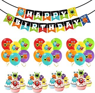 Kreatwow Monster Bash Party Decorations - Monster Birthday Balloons Happy Birthday Banner Cupcake Toppers for Boys Monster Party Supplies