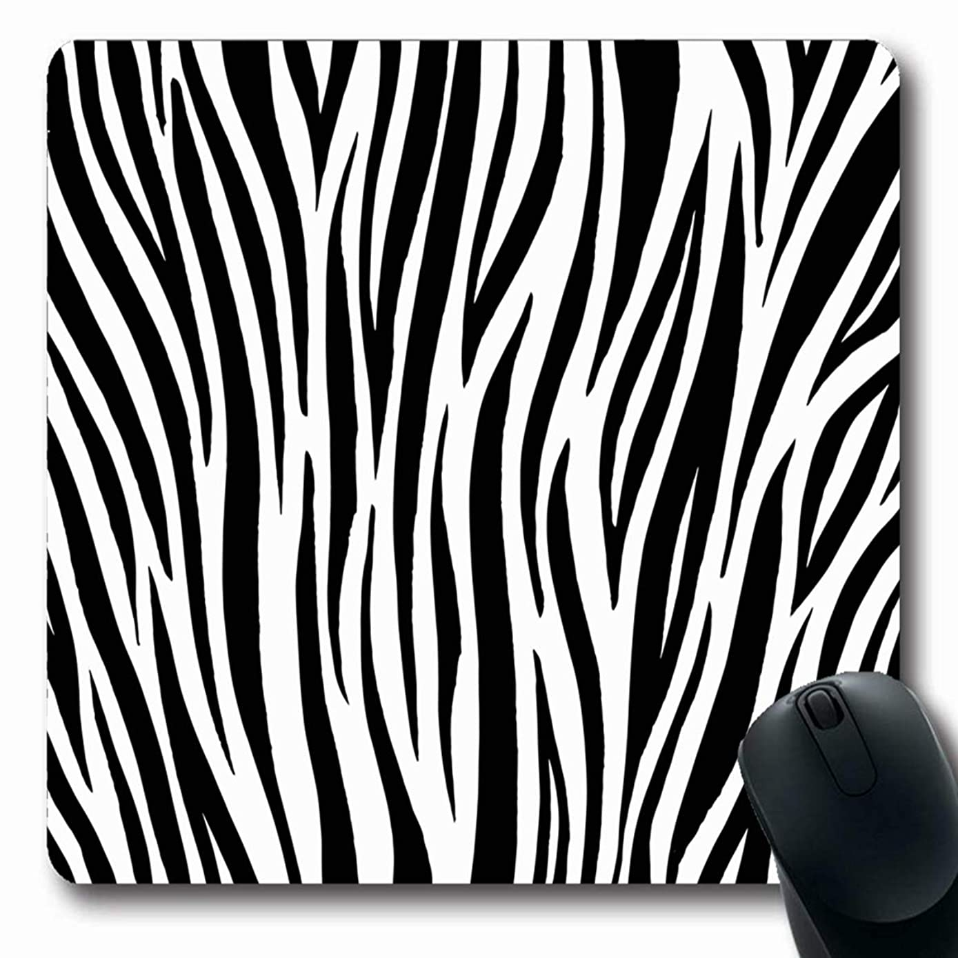Ahawoso Mousepad Oblong 7.9x9.8 Inches Pattern Zebra Skin Tiger Stripes Exotic Zoo Sketch Detail Fur Glamour Design Lines Office Computer Laptop Notebook Mouse Pad,Non-Slip Rubber
