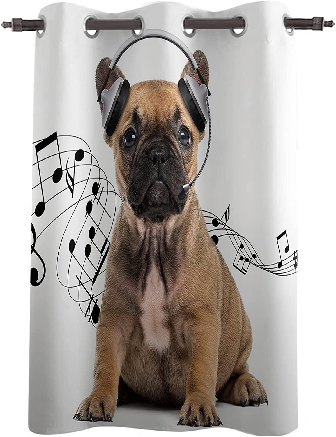 Blackout Window Curtain Drapes Funny Pug Wearing Headphones Cheap mail order sales Dog Popular brand