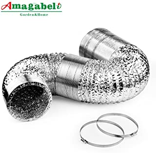 6in Aluminum Foil Duct Hose Flex Grow Tent Room Ventilation Cooling System 25ft Air Intake Helix Pipe Exhaust Inline Fan Filter CFM Flexible Clothe Dryer Vent Hose with 2 Tension Clamps HAVC Heat Duct