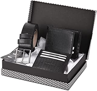 Badang Crocodile Leather Wallet, Belt, Credit Card Holder Gift Accessory Set, Card Holder and Belt Set (maximum 9 cards) &...