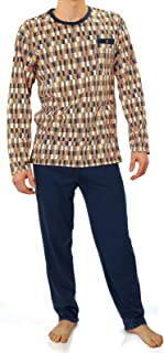 Sesto Senso Mens Pyjamas Set 100% Cotton Pjs Long Sleeve Top & Pants Checked