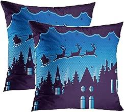 Sgvsdg Set of 2 Throw Pillow Covers Believe The Magic Christmas Santa Claus Coming Town Blue Square Hidden Zipper Home Sofa Living Room Cushion Decor Pillowcases 18 x 18 Inch