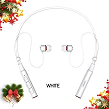 Sport Bluetooth Headphones,Remax V4.1 Wireless Neckband Noise Cancelling Earphone Magnetic Earbuds Sweatproof Headset HD Stereo in-Ear Earphones 7-9 Hrs Playtime for Running Gym Workout w/Mic (White)