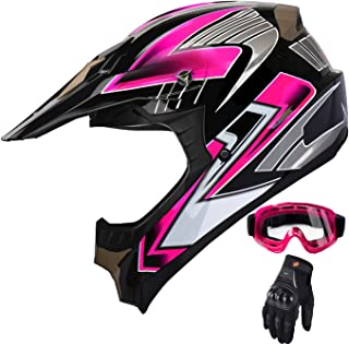 Women's Motocross ATV Helmet Dirt Bike OffRoad Mountain Bike Helmet Goggles Gloves Combo Pink 189 (L)