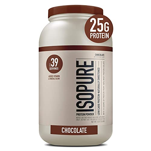 Isopure Low Carb Naturally Sweetened, Zinc for Immune Support, 25g Protein, Keto Friendly Protein Powder, 100% Whey Protein Isolate, Flavor: Chocolate, 3 Pounds (Packaging May Vary)