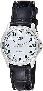 ساعة كاسيو للرجال شاشة بيضاء جلد B - MTP-1183E-7B