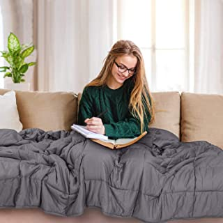 TOPVISION Weighted Blanket, (15 lbs, 48''x72'', Single Size) Heavy Blanket, 100% Cotton Material with Glass Beads for 140-150lbs