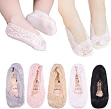 5 Pairs Girls Lace No Show Low Cut Socks Toddler Summer Non Skid Invisible Cotton Liner Sock