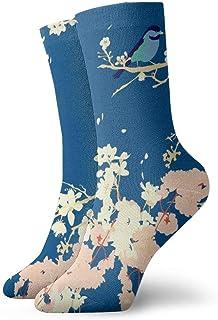 海軍日本庭園の鳥と花はZoe Charlotte_267によるオリジナルのイラストとパターンに影響を与えました 絵画アートプリント面白いノベルティ動物カジュアルコットンクルーソックス11.8インチ