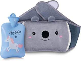 Hot Water Bottle, Warm Water Bag Rubber Hot Water Pouch with Soft Plush Hand Waist Warmer Cover, Cute Unicorn Hot Water Bag for Pain Relief from Arthritis, Headaches, Hot and Cold Therapy