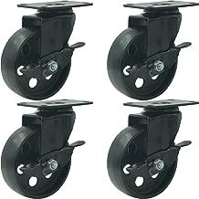 FactorDuty 4 All Black Metal Swivel Plate Caster Wheels w/Brake Lock Heavy Duty High-Gauge Steel (4
