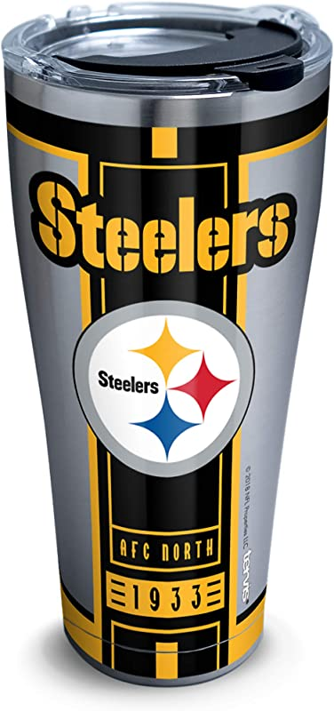 Tervis 1317673 NFL Pittsburgh Steelers Blitz Stainless Steel Insulated Tumbler With Clear And Black Hammer Lid 30 Oz Silver