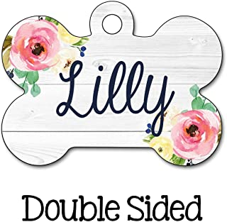 Dog ID Tag, Personalized Dog Tag, Dog Name Tag, Floral Dog Tag, Personalized Pet Tag, Custom Pet Tag, Double Sided Name Tag, Girl Dog Tag