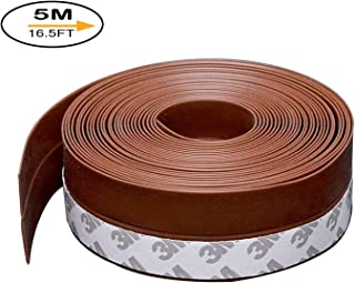 Door Seal Strip Weather Stripping Weatherstrip Door Bottom Strip for Doors Silicone Sealing Sticker Sealer Strip Adhesive Draught Excluder Insect Proof Gap Sealing, 5m(16.5ft)*35mm, Brown
