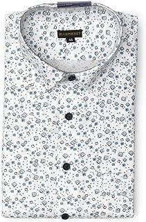 BLUEPOCKET White Printed Formal Shirt for Men. Cotton, Regular Fit, Rounded Hemlines
