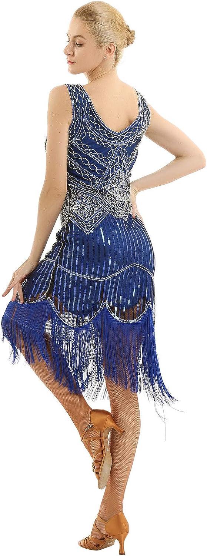 dPois Women's Vintage 1920s Gatsby Dress V Neck Sequin Bead Fringed Cocktail Hem Flapper Dress