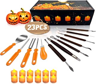Halloween Pumpkin Carving Kit, 11 Pieces Professional Pumpkin Cutting Supplies Tools with 12 Pumpkin LED Candles, Stainless Steel Jack-O-Lanter Carving Knife Set for Halloween Decoration
