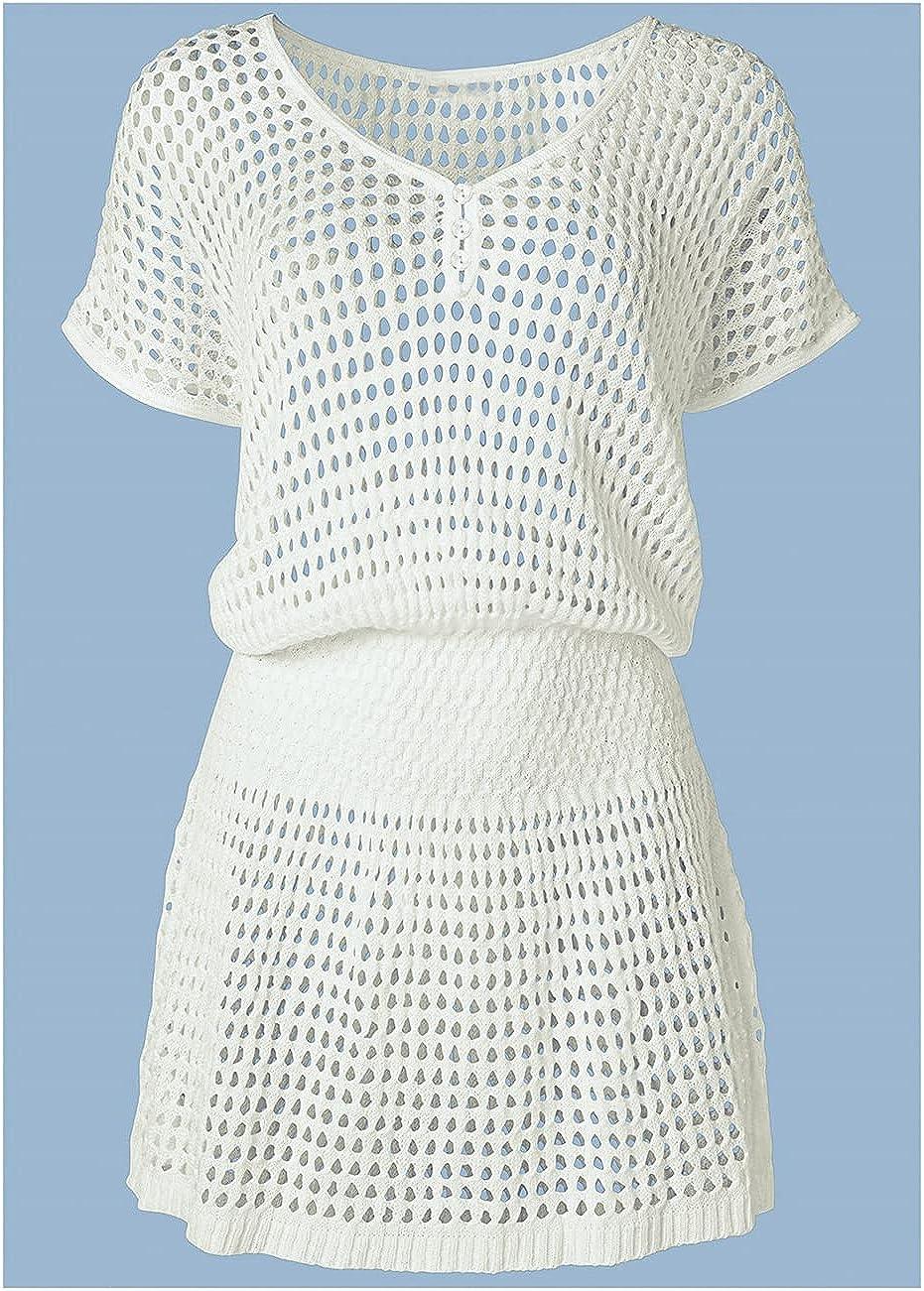 Bsubseach Women Crochet Hollow Out Swim Cover Ups Short Sleeve Beach Swimwear Tunic Dress